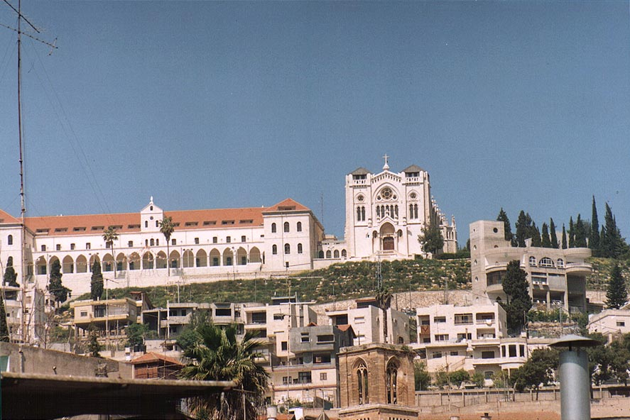The Salesian Church (of Jesus the Adolescent) on a hill. Nazareth, the Middle East