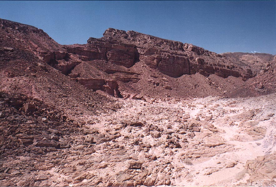 Red sandstone of Nahal Amir wadi, 5 miles north from Eilat. The Middle East