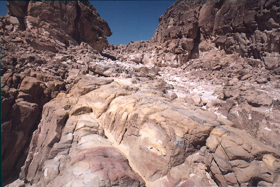 Multicolored sandstone of Mount Amir, 5 miles north from Eilat. The Middle East