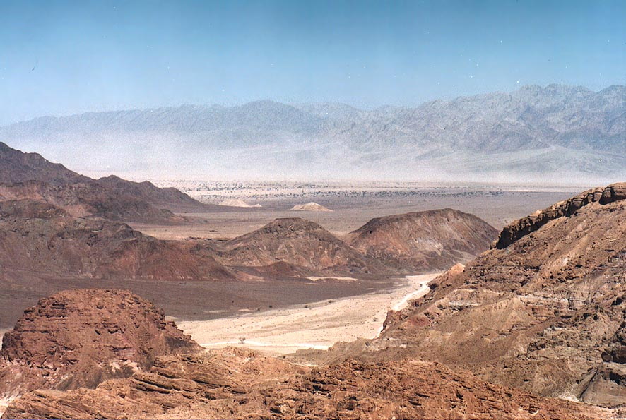 Valley of Amram wadi and Arava Valley behind it...north from Eilat. The Middle East