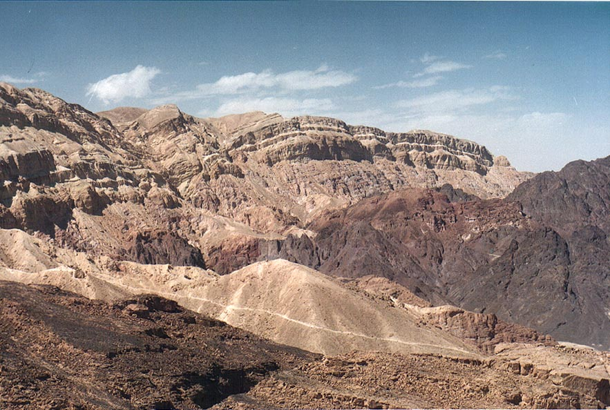 Amram Cliffs, view to the north from Mount Amir, 5 miles north from Eilat. The Middle East