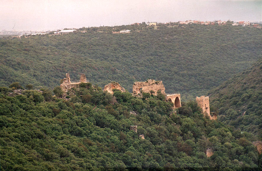 View of Montfort Castle from trail 2223, 2 miles...from Mi'ilia. Galilee, the Middle East