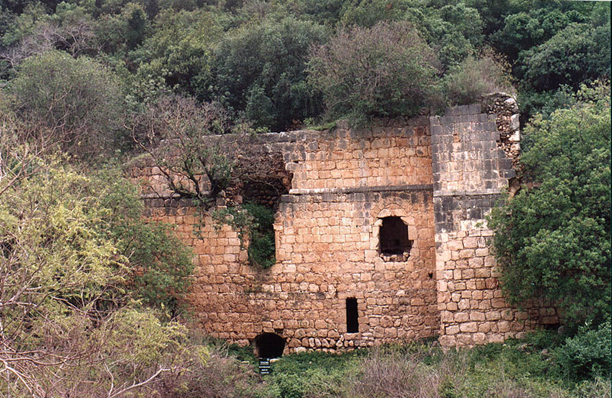 A lower building of Montfort Castle near a dam of...from Mi'ilia. Galilee, the Middle East