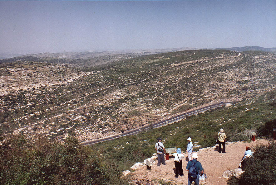 Tourists overlooking Rd. 1 at the ascent to...west from Jerusalem. The Middle East