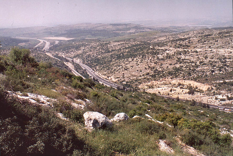Overlook of Rd. 1 at the ascent to memorial hill...west from Jerusalem. The Middle East