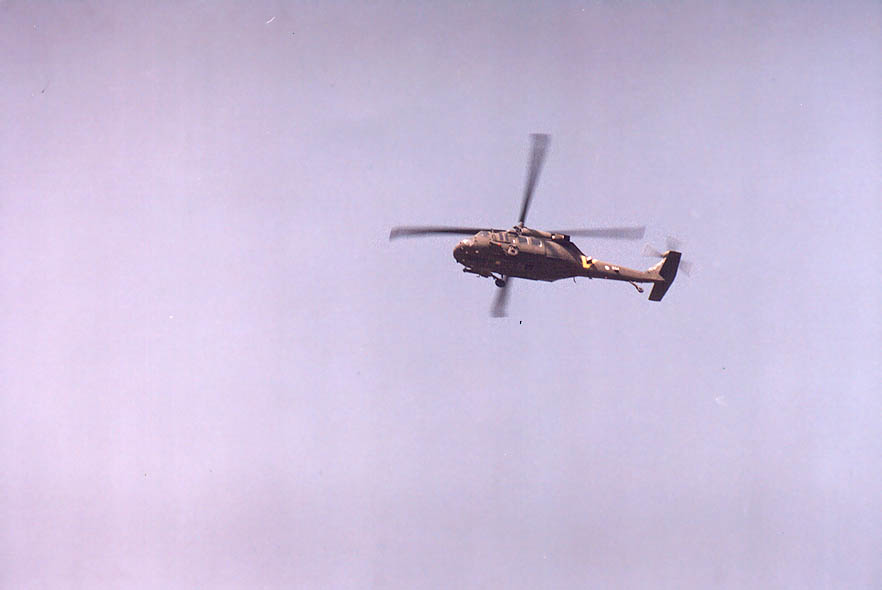 An Israeli helicopter returning after bombing of...west from Jerusalem. The Middle East