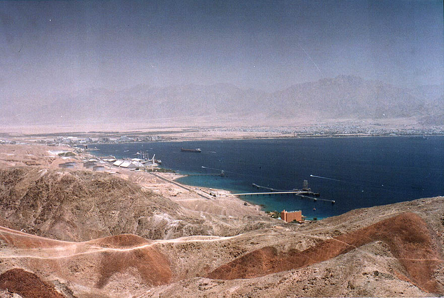 Southern Eilat beaches viewed from ascent to...the Field School. The Middle East