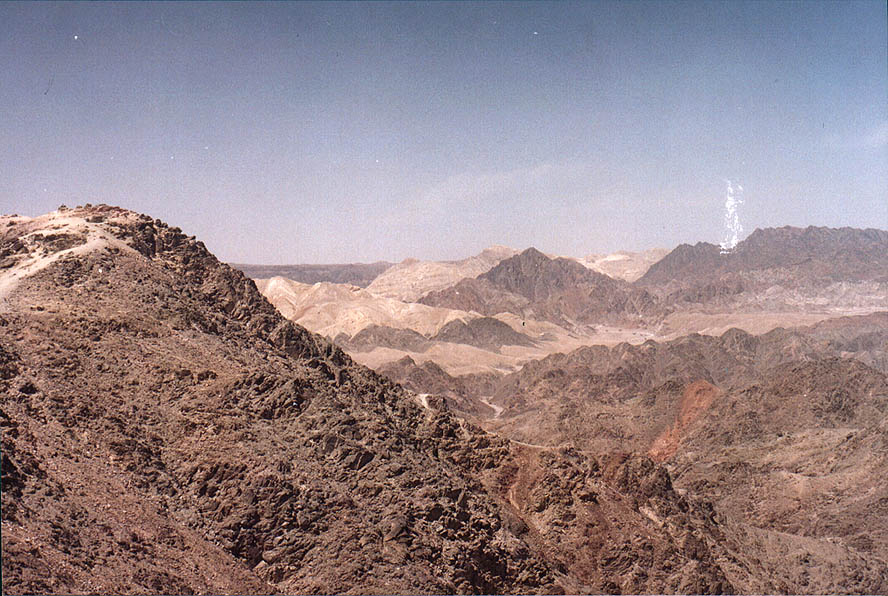 View from Mount Tsefahot south from Eilat. The Middle East