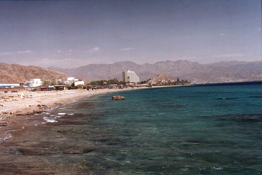 The Gulf of Aqaba of the Red Sea south-west from Taba. Egypt