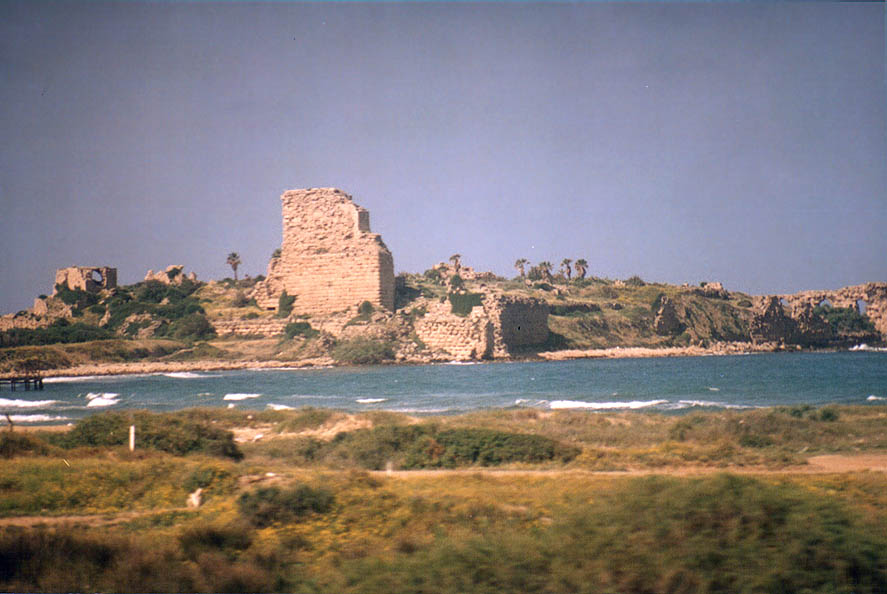 Crusader's fortress in Atlit, now a military camp...view from a train. The Middle East
