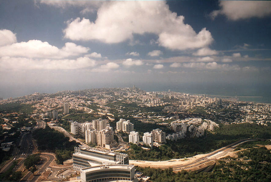 View of Haifa from Eshkol Tower of Haifa University on Mount Carmel. The Middle East