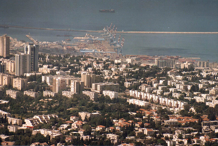 View of Haifa and the port (zoomed) from Eshkol...on Mount Carmel. The Middle East