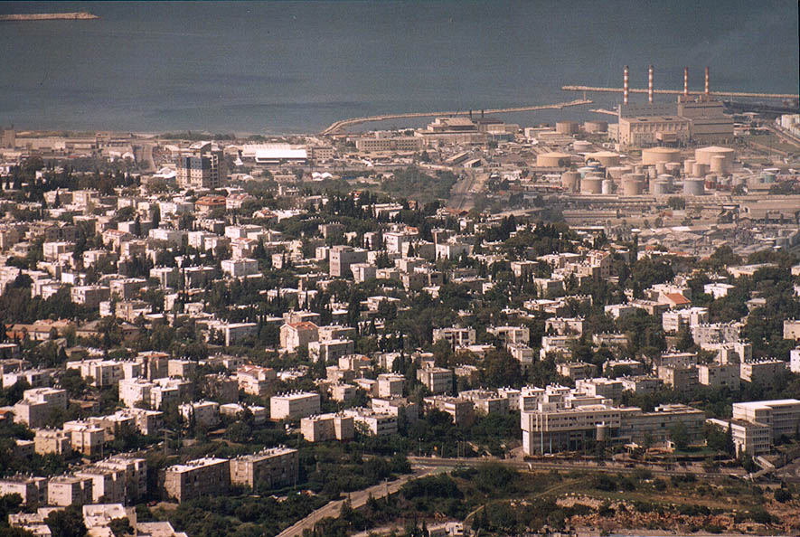 View of Haifa and the port from Eshkol Tower of...on Mount Carmel. The Middle East
