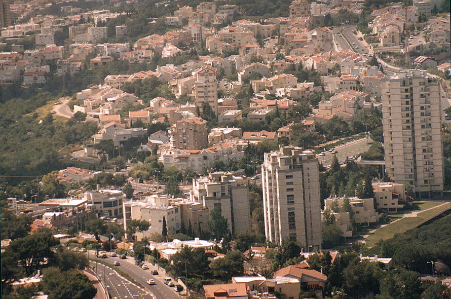 View of Ramot Almogi neighborhood of Haifa from...on Mount Carmel. The Middle East