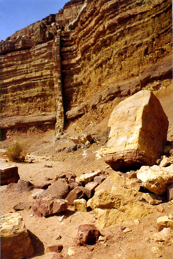 Dike (magmatic seepage) in Nahal Ardon wadi in Ramon Crater. The Middle East