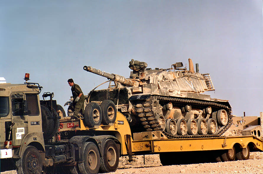 Magach 6B Gal tank on tanktransporter heading to...in Mitzpe Ramon. The Middle East