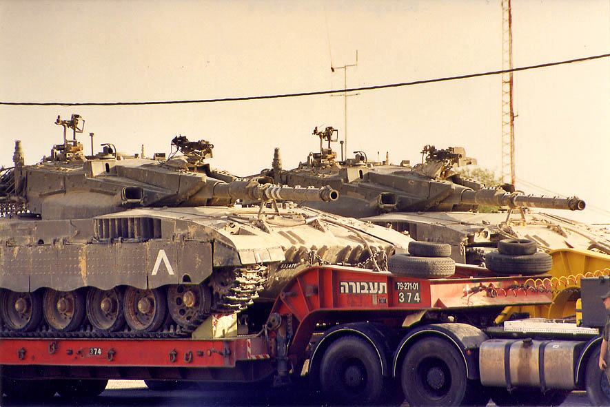 Magach 6 Bet Gal tanks heading to Gaza Strip from...in Mitzpe Ramon. The Middle East