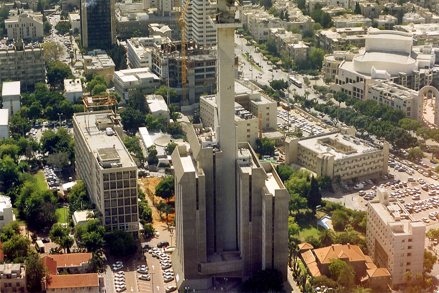 View of Israeli Defence Ministry west from Azrieli Tower. Tel Aviv, the Middle East