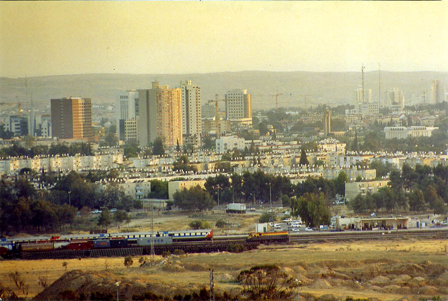 The city south from a hill with Palmach memorial. Beer-Sheva, the Middle East