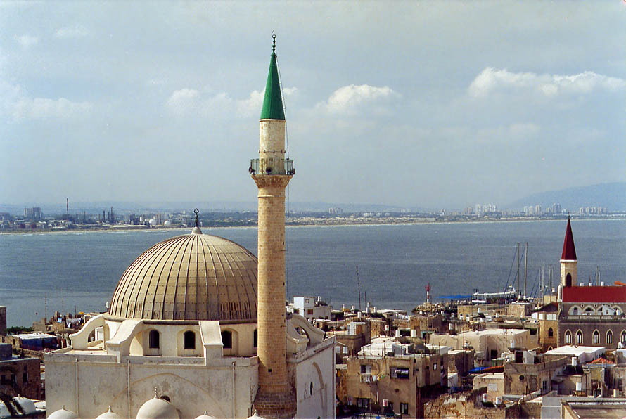Minaret of Great Mosque and the bay, view from Citadel. Akko, the Middle East