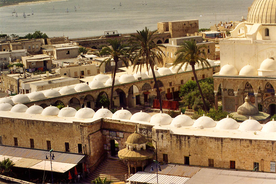 A corner and an entrance gate to the Great Mosque...from Citadel. Akko, the Middle East