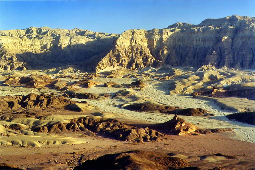 View of Timna Cliffs from the flat tabletop of...north from Eilat, the Middle East