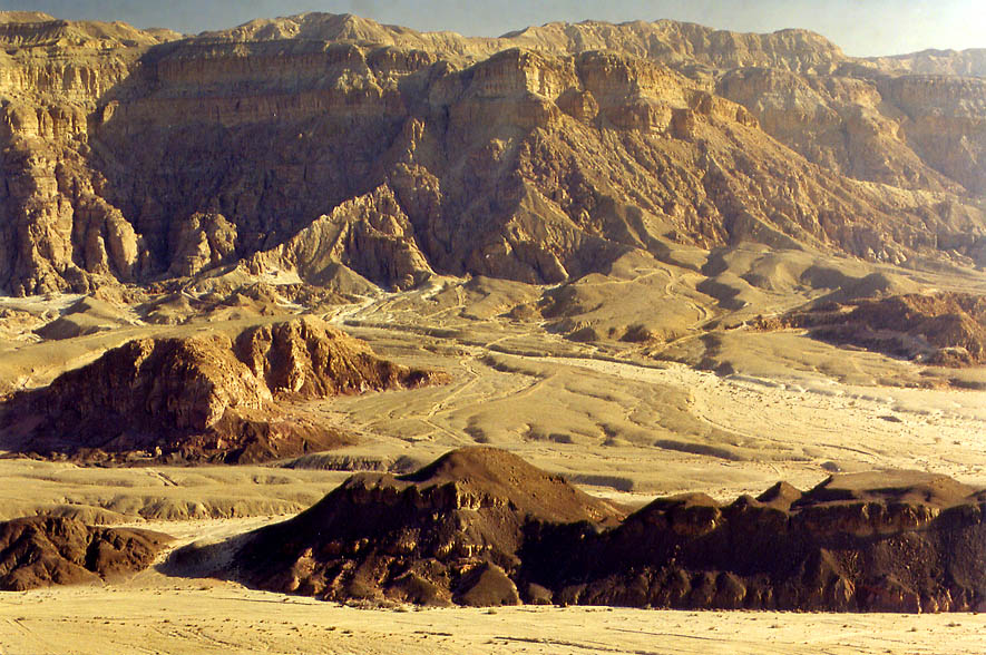 View of Timna Cliffs north from the flat tabletop...north from Eilat, the Middle East