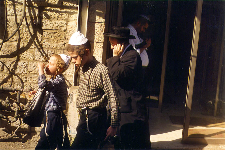 Mea Shearim St. from a window of a bus No. 1. Jerusalem, the Middle East