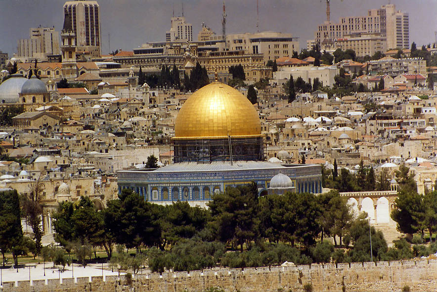 Dome of the Rock in Old City from Mount of Olives. Jerusalem, the Middle East