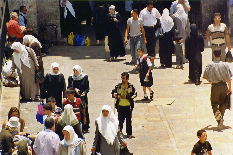 A square in front of Damascus Gate of the Old City. Jerusalem, the Middle East