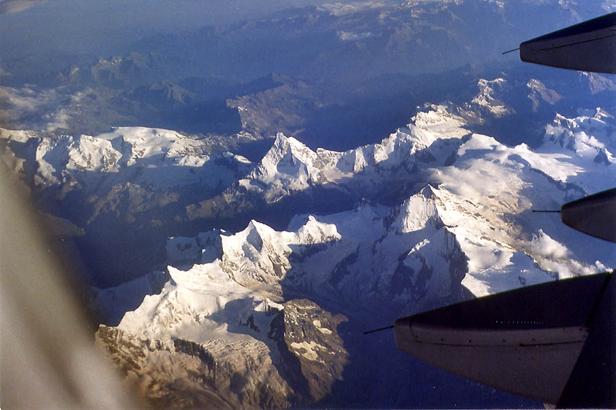 View of Alps from a plane from Tel Aviv to Paris