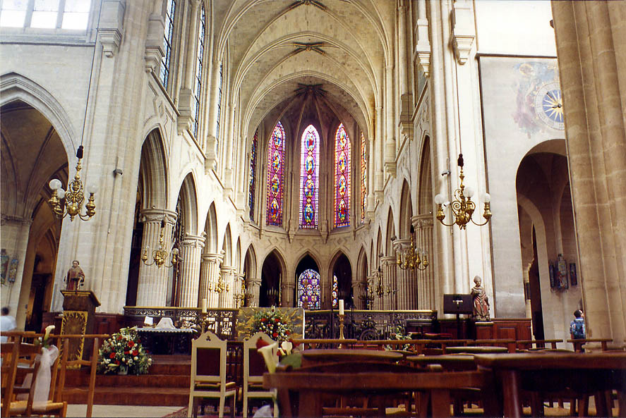 Interior of St-Germain l'Auxerrois cathedral. Paris