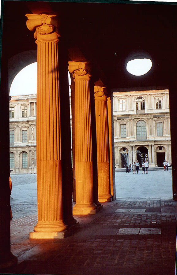 Louvre, Cour Carree, evening sun. Paris