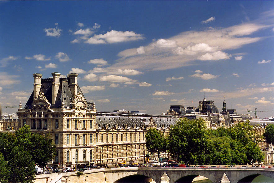 Louvre from open terrace of Museum d'Orsay. Paris