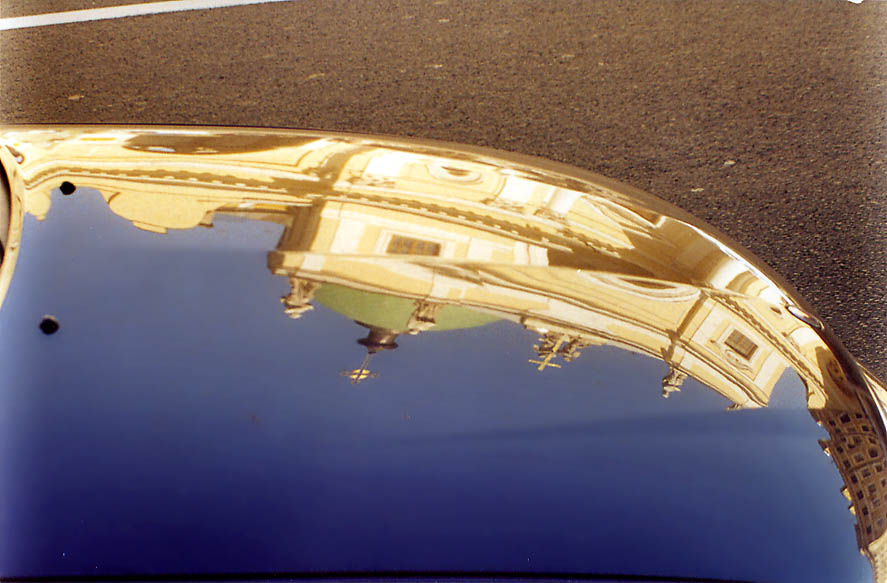Reflection of St.Catherine Roman Catholic Church...street of St.Petersburg, Russia