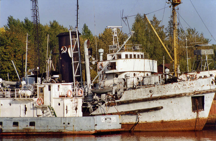 Rusty military ships in Vladimirskaya Bukhta...miles north from St.Petersburg. Russia
