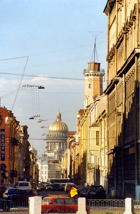 A street in St.Petersburg with Isaakievsky Cathedral in background. Russia
