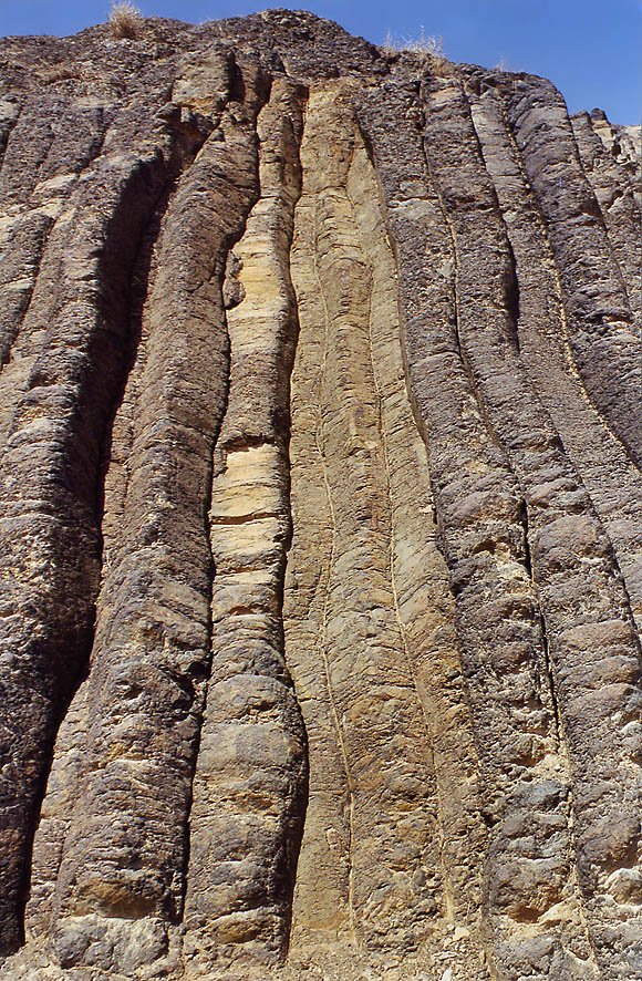 Volcanic prisms on the bottom of Ramon Crater (Makhtesh Ramon). The Middle East