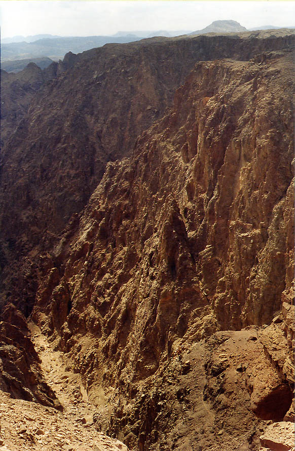 Narrow canyon through magmatic rock of wadi...north-west from Eilat. The Middle East