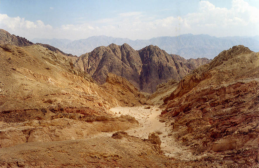 View of a small passage from a trail 0.5 miles...north-west from Eilat. The Middle East