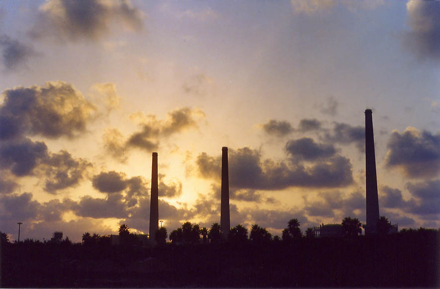 Hadera power plant from Mediterranean highway at sunset. The Middle East