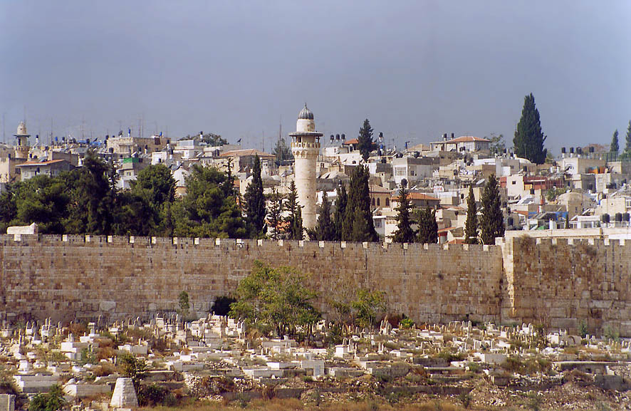Moslem cemetery and eastern wall of Old City from...of Olives. Jerusalem, the Middle East