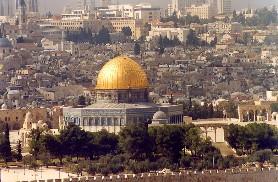 Dome of the Rock mosque in Old City from Mount of Olives. Jerusalem, the Middle East