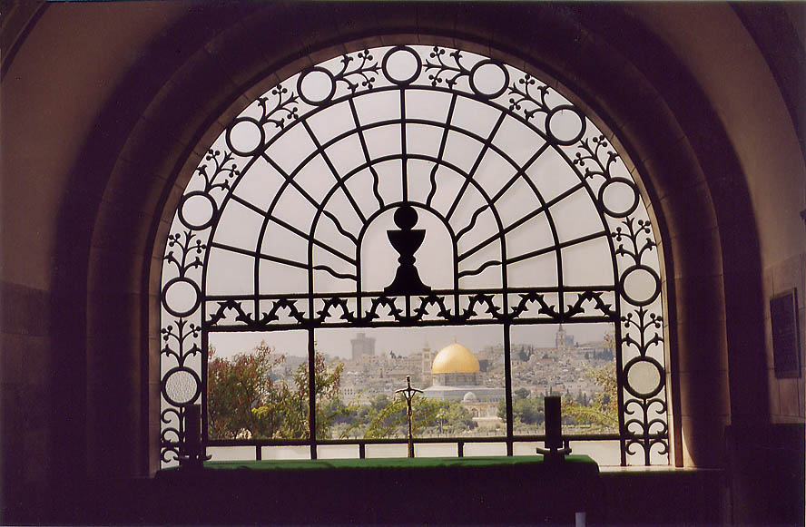 Dome of the Rock mosque from a window of a small...of Olives. Jerusalem, the Middle East