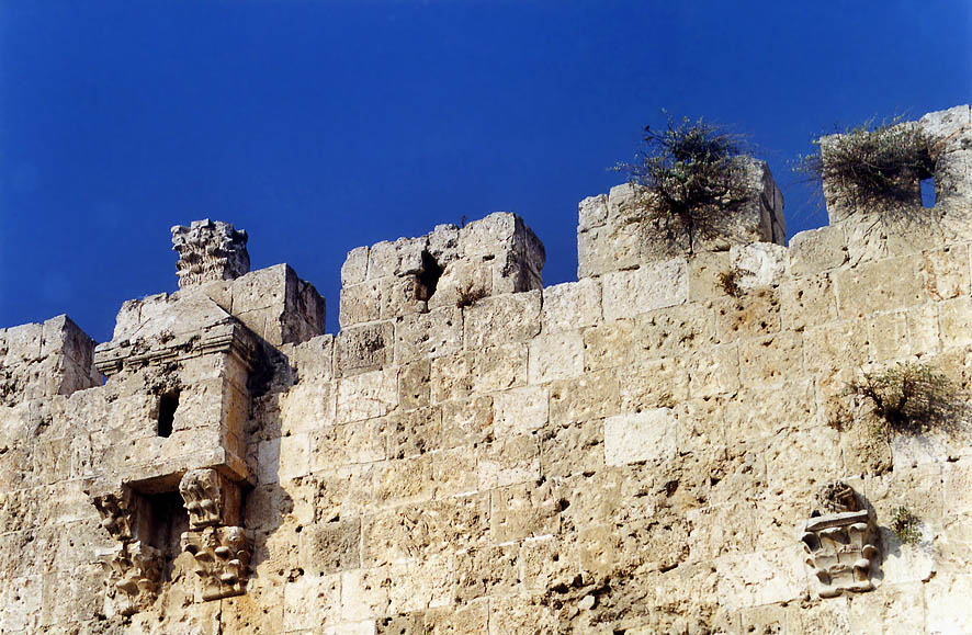 Walls of Old City above Zion Gate. Jerusalem, the Middle East