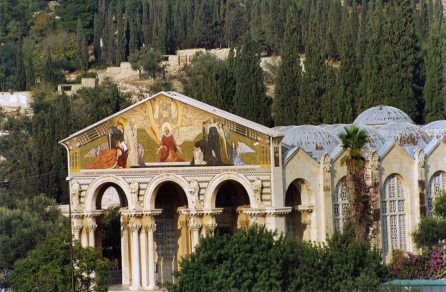 Gethsemane Church of All Nations from Derekh Ha'Ofel Rd.. Jerusalem, the Middle East