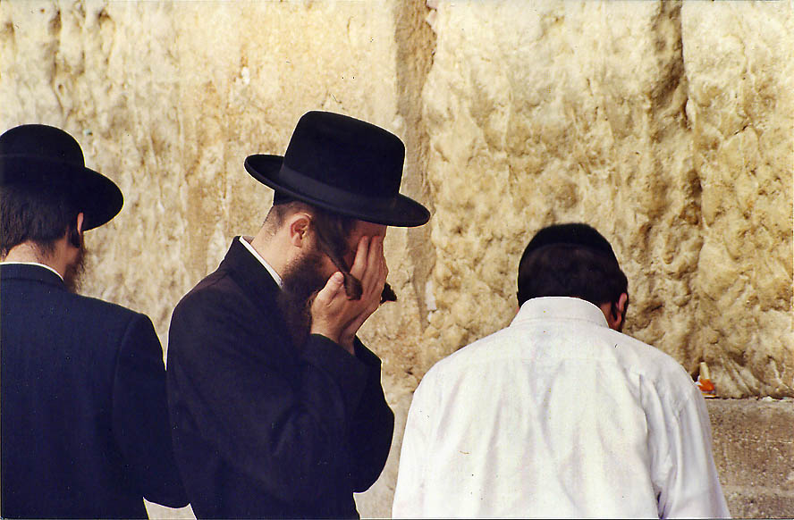 Wailing in front of the Western Wall. Jerusalem, the Middle East