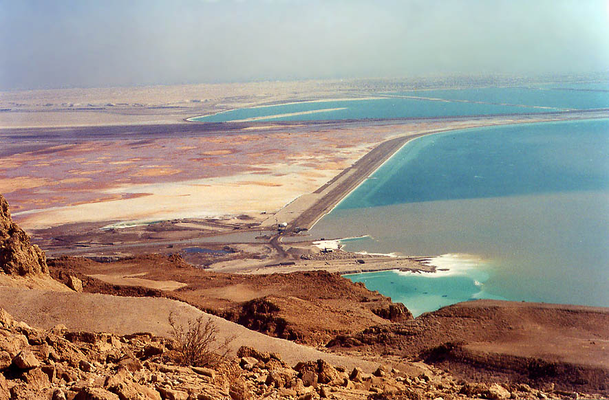 Shallow area of Dead Sea from cliffs above Ein Bokek. The Middle East