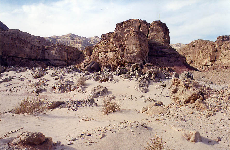 Sandstone erosion below western cliffs in Timna...north from Eilat. The Middle East
