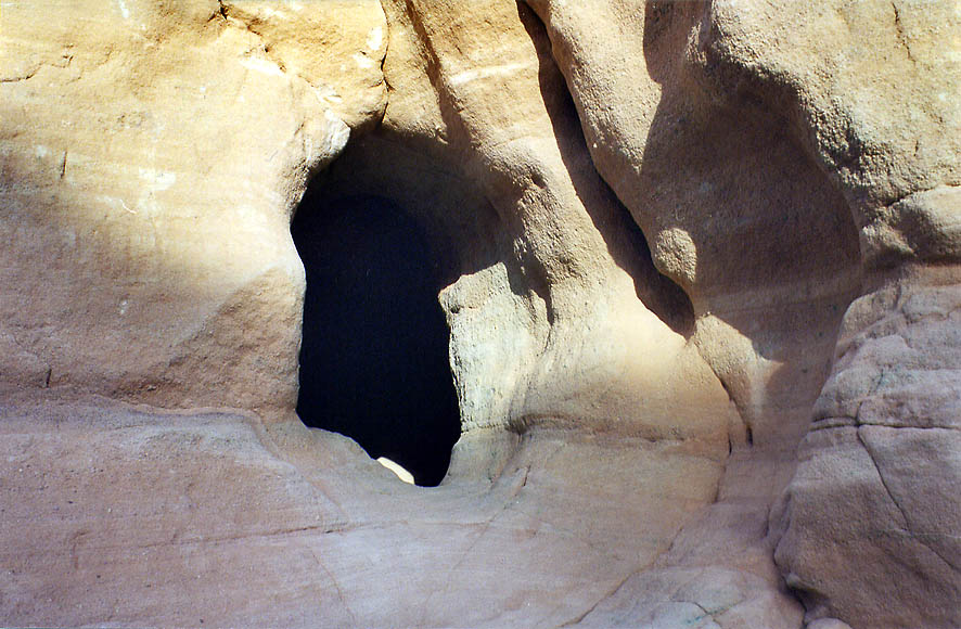 Ancient copper mining cave in sandstone of a...north from Eilat. The Middle East